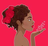 African-American woman in love — Stock Vector