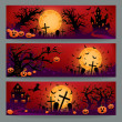 Stock Vector: Three Halloween banners