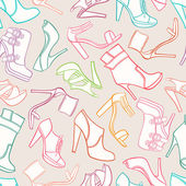 Seamless background with women's shoes — Stockvektor