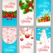 Set of six Christmas cards — Stock Vector