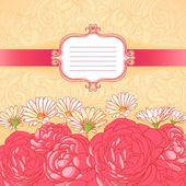 Card with roses and camomiles — Vector de stock