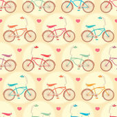 Bicycles and pink hearts — Stock Vector
