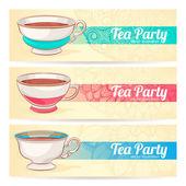 Trois bannières avec une tasse de thé — Stockvektor