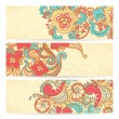 Set of three horizontal floral banners — Stock Vector