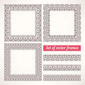 Brown patterned frames - 1 — Stock Vector