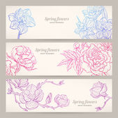 Banners with hand-drawn flowers — Stock Vector