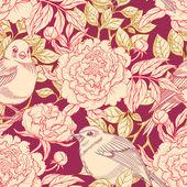 Birds and peonies — Stock vektor