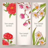 Three banners with hand-drawn flowers — ストックベクタ
