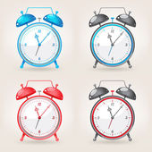 Different colors alarm clock — Stock Vector