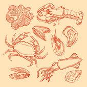 Sketch seafood — Stock Vector