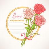 Romantic frame with roses — ストックベクタ