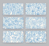 Cards with blue floral patterns — ストックベクタ