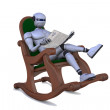 Stock Photo: Robot with newspaper