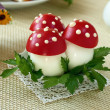 Fly agaric made from egg and tomato — Stock Photo
