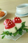 Mushrooms made of eggs and tomatos — Stock Photo