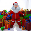 Stock Photo: 3d render of SantClaus stands round great number of gifts