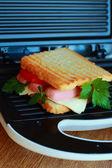烤面包,香肠和奶酪 — 图库照片