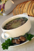 Soup with mushrooms and parsley in a bowl — Stock Photo