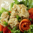 Meat dumplings as roses — Stock Photo