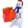 Snowman with a gift — Stock Photo