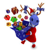 Blue horse with gifts — Stock Photo