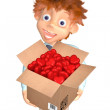 Stock Photo: Boy with box of candies to Valentine's day