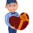 Postman with a box as a heart to the Valentine's day — Stock Photo