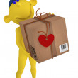 3D yellow people. Valentines. Postman with the box to the Valent — Stock Photo