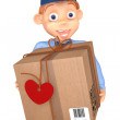 Postman with a postal parcel — Stock Photo #40443773