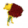 Yellow man with the bouquet of roses — Stock Photo