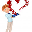 Boy received message as a heart by phone — Stock Photo
