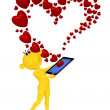 Yellow man received message as a heart by phone — Stock Photo