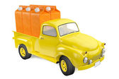 Yellow lorry with packing of orange juice — Foto Stock