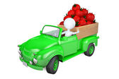 Little man transports tomato by the truck — Stockfoto