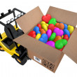 Loader with box full hearts of different colours — Stock Photo
