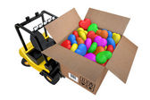 Loader with box full hearts of different colours — Stockfoto