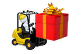 White man on a loader with a gift by a holiday — Stock Photo
