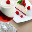Постер, плакат: Cake with a raspberry and panna cotta