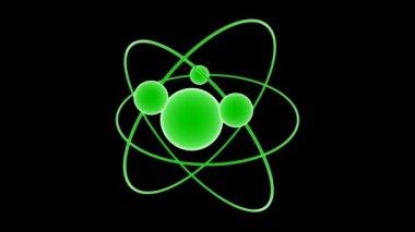 Atom 1 grön svart — Stockvideo