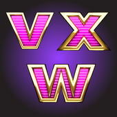 Vector pink letters with gold — 图库矢量图片