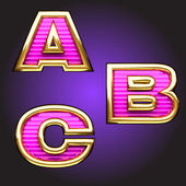Vector pink letters with gold — Cтоковый вектор