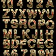 Raster alphabet with gearwheels - Foto Stock