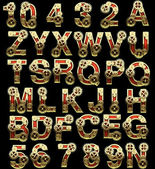 Raster alphabet with gearwheels — Stock Photo