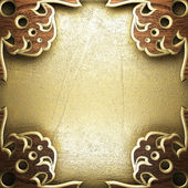 Madeira na parede dourado — Fotografia Stock