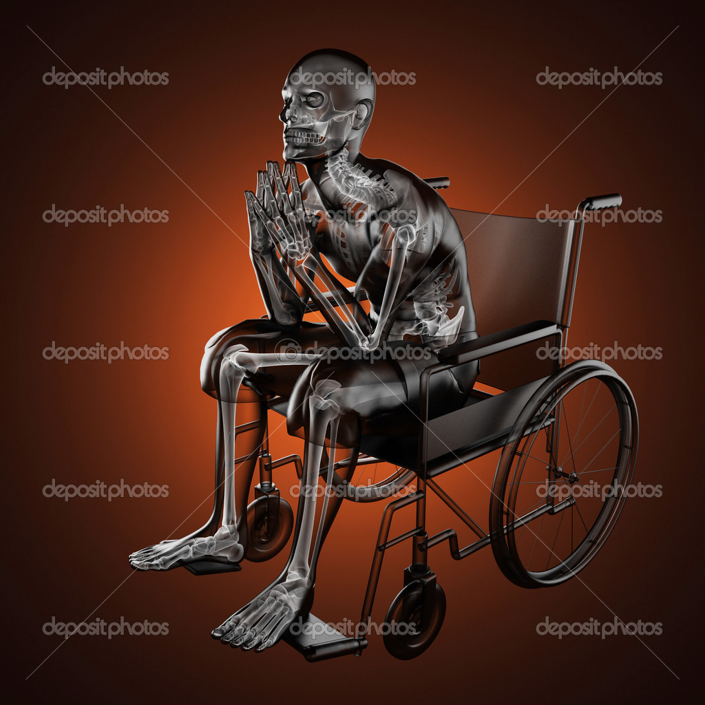 Man in wheelchair made in 3D — Stock Photo #17172449