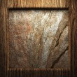 Wooden plate on wall - Stock Photo
