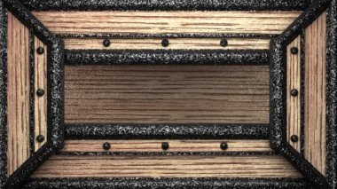 Afschuwelijk op houten stempel — Stockvideo