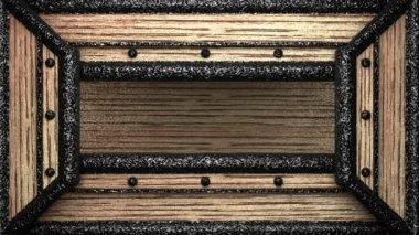 Aquatics on wooden stamp — Stock Video