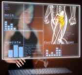 Human radiography scan on hologram — Stock Photo