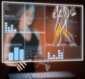 Human radiography scan on hologram — Stock Photo